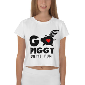 GO PIGGY UNITE FUN white Crop Tee Shirt