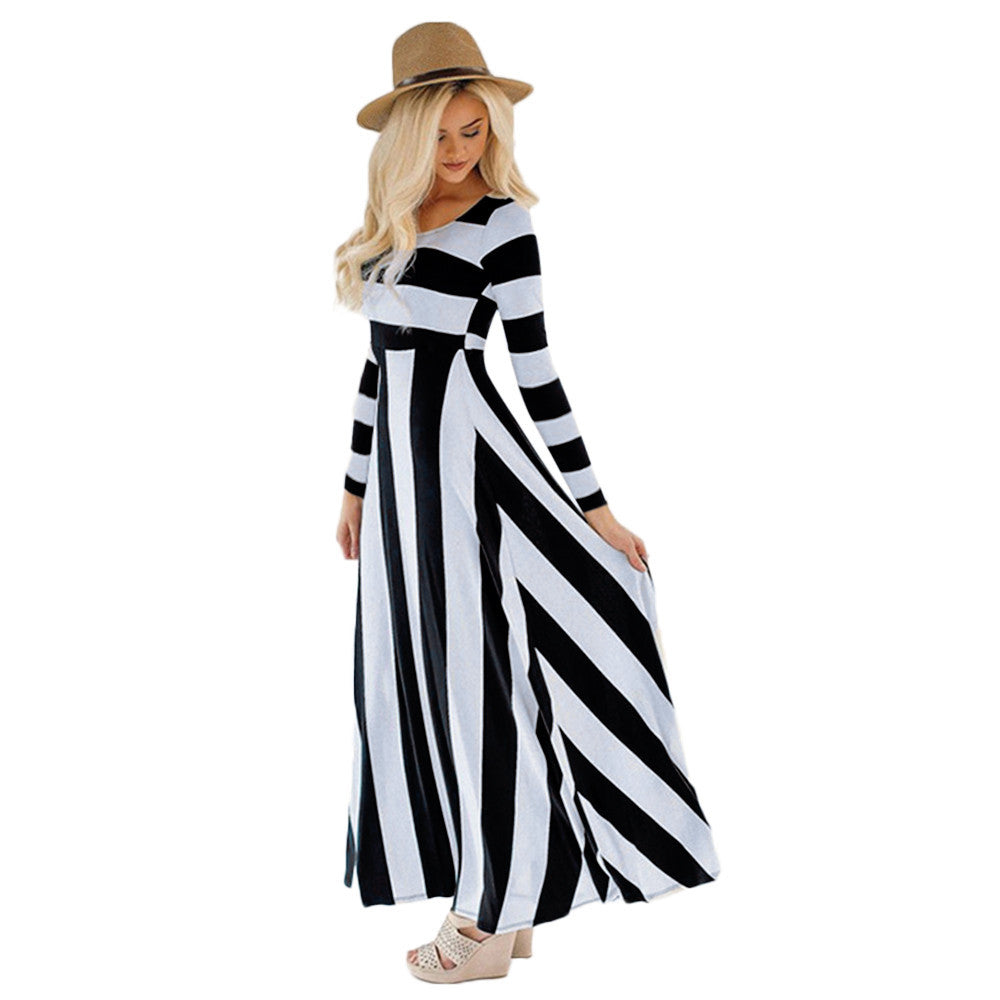 Long Sleeved Striped Maxi