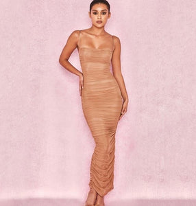 Nude Ruched Dress