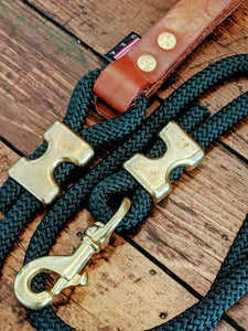 Climbing rope leash with solid brass fittings and custom leather handle