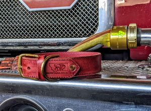 Custom distressed red leather dog collar with solid brass fittings - Montana Select Premium Pet Products.