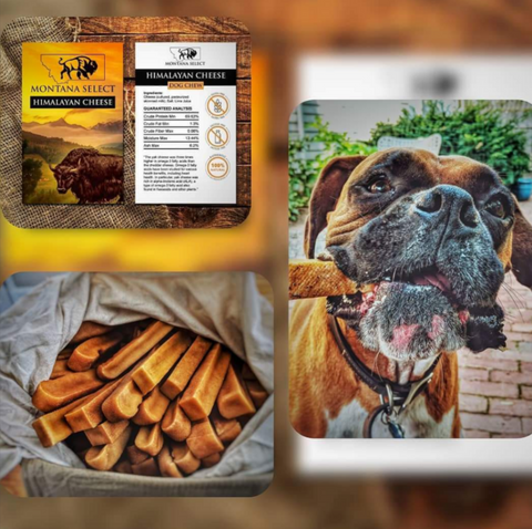 smoked Hard pressed Himalayan yak cheese dog chews - Montana Select Premium Pet Products.