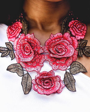 """Rose Petal"" Fabric Statement Necklace"