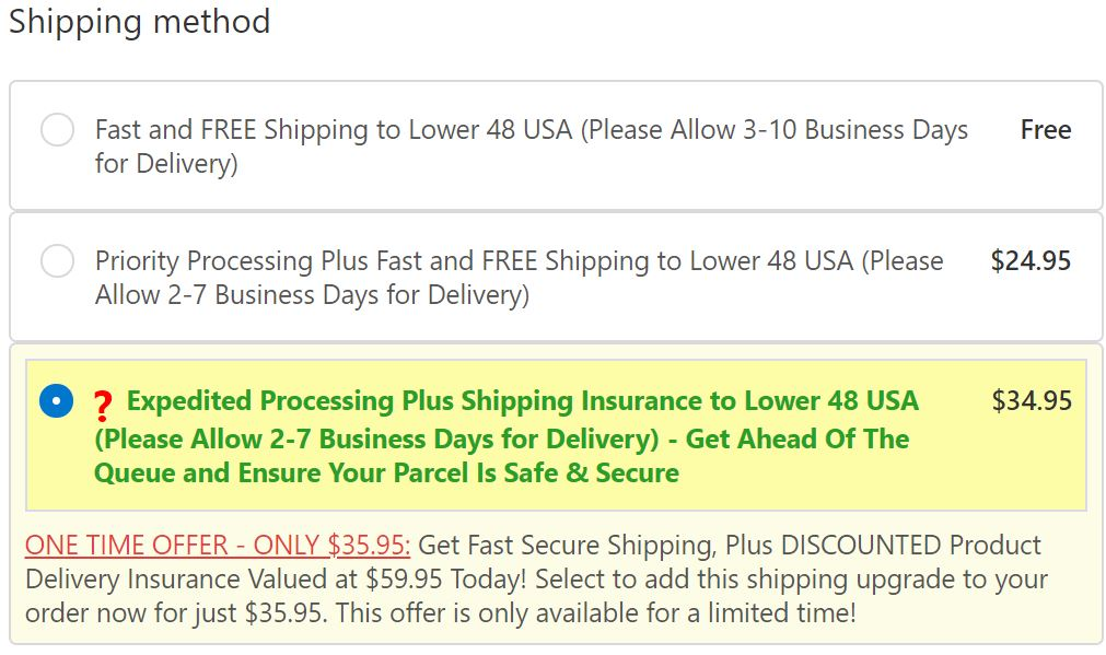 your preferred shipping method