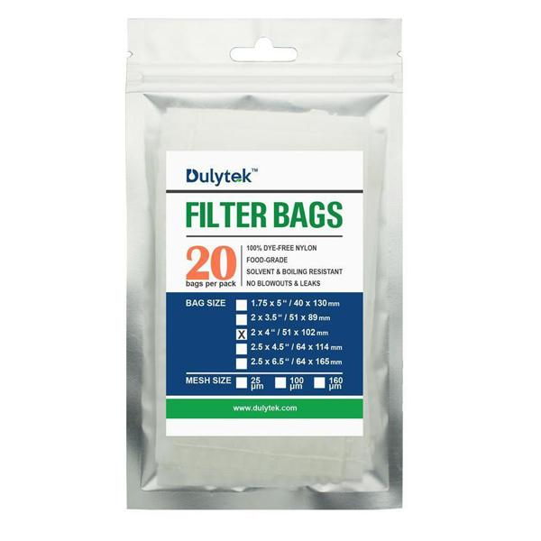 Buy Dulytek Premium Rosin Press Nylon Filter Bags Various Micron Mesh Sizes Available And Free Packing Card - Zero Blowouts 2X4 in 20 Pcs - In Stock - Low Price Guarantee - Blooming Flora