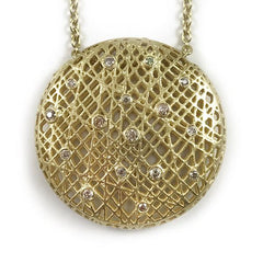 18K Yellow Gold Lace Pendant Necklace by Yossi Harari