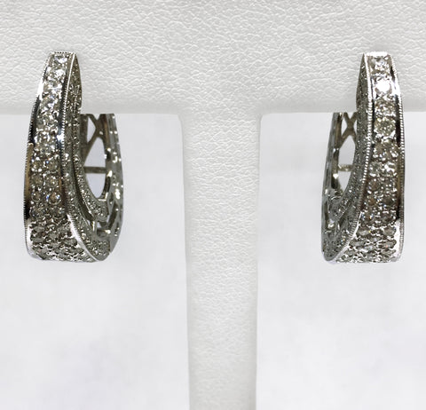 Diamond Hoop Earrings - Pavé Set 2.00cts