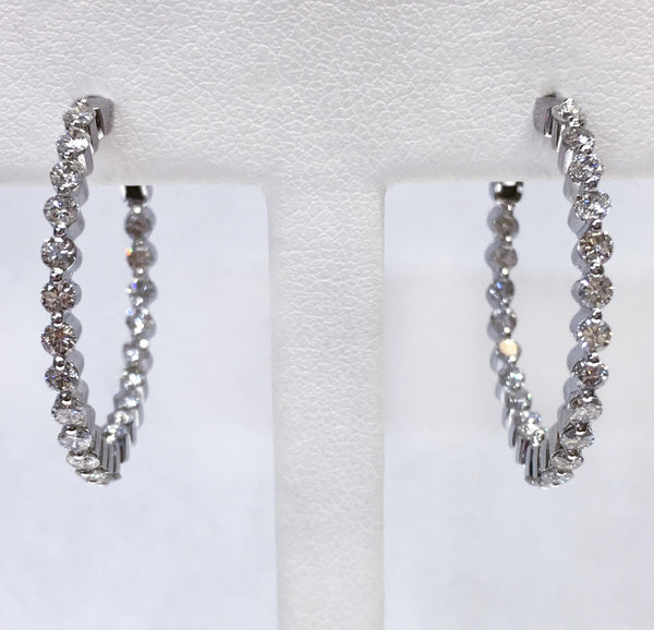 Diamond Inside/Out Hoop Earrings - Prong Set 1.81tw, SI1-SI2 G-H