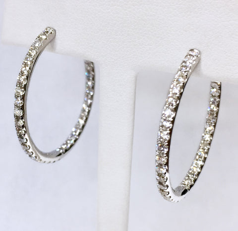 Diamond Inside/Out Hoop Earrings - Bead Set 2.64tw SI1-SI2 G-H (G.I.A)