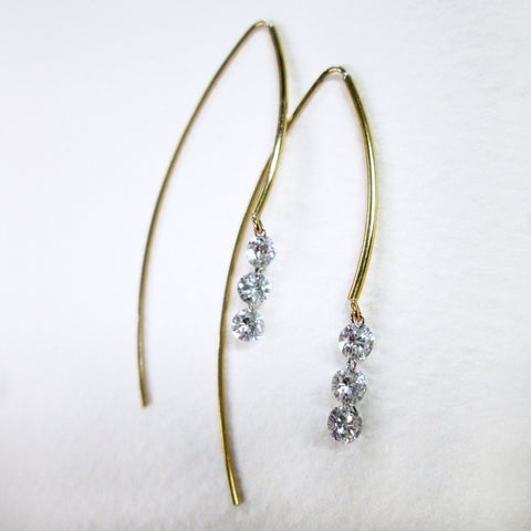 Pierced Diamond Earrings - 3 Brilliant Cut Round Diamonds