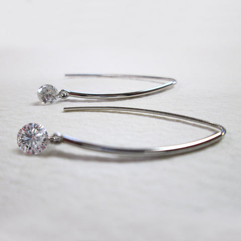 Pierced Diamond Earrings - 1 Brilliant Cut Round Diamond