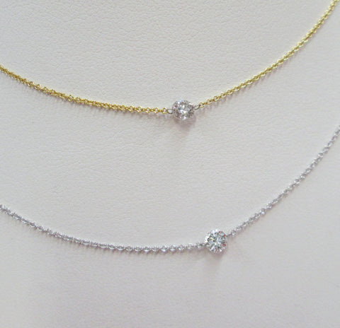Pierced Diamond Necklace - Yellow or White 18K Gold