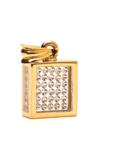 Floating Diamond Pavé Pendant - 14k Yellow Gold