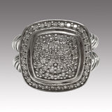 David Yurman Albion Ring with Pave Diamonds (925) Silver approx. 1ct, Size 7