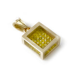 Floating Color Enhanced (HP/HT) Canary Diamond Pavé Pendant - 14k Yellow Gold