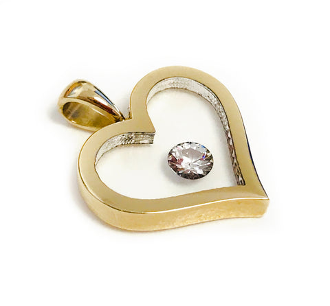 Floating Diamond Solitaire - Heart Shaped Pendant
