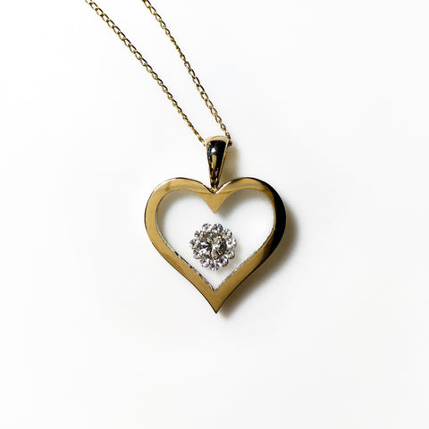 Floating Diamond Cluster - Heart Shaped Pendant