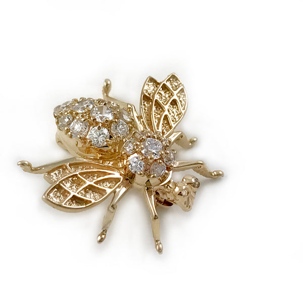 Vintage 14k Yellow Gold Honey Bee Brooch/Pin with Cubic Zirconia Eyes and Body