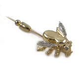 Vintage 14k Two-Tone White and Yellow Gold Diamond Honey Bee Stick Pin with End Cap, .22ctw