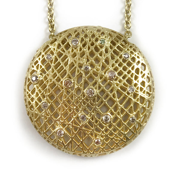 Yossi Harari 18k Yellow Gold Lace Pendant Necklace