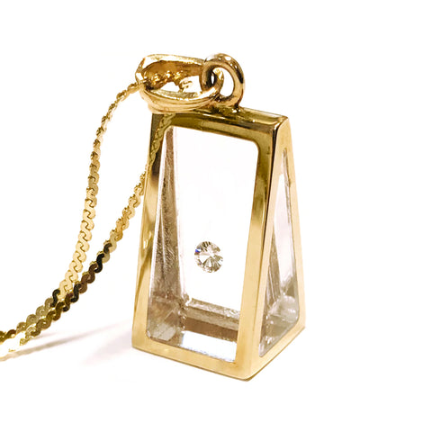 Floating Diamond Pyramid Pendant