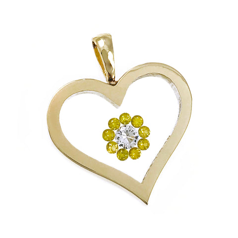 Floating Canary Diamond Heart-Shaped Pendant