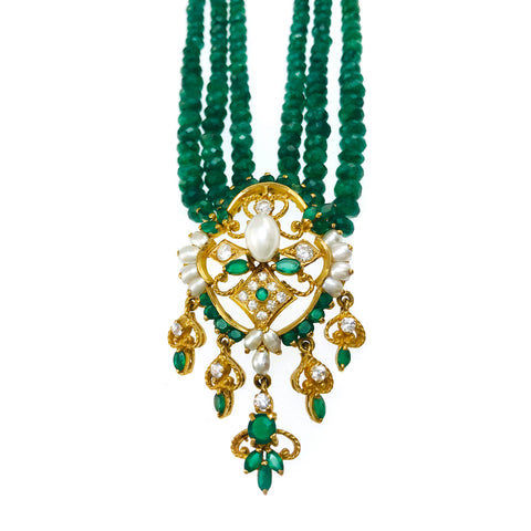 Emerald Multi-Strand Beaded Necklace