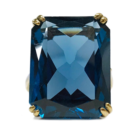 14 Karat Blue Synthetic Spinel Ring