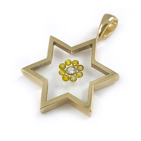 Floating Canary Diamond Star-Shaped Pendant