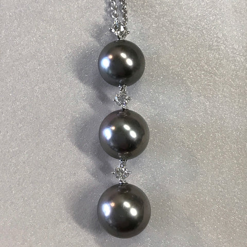 Mikimoto Japanese Ayoka Cultured Black Pearl and Diamond Pendant/Necklace