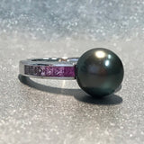 Mikimoto Japanese Ayoka Cultured Black Pearl Pink Sapphire Ring