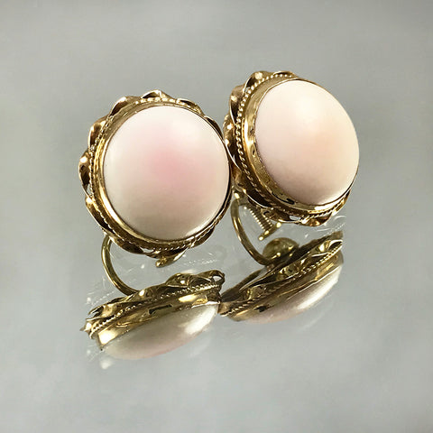 Antique 14k Yellow Gold Pink Coral Earrings – Angel Skin/Pink Blush Coral