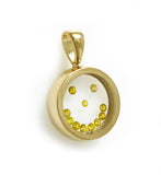 Floating Canary Diamond Happy Face Circle Pendant