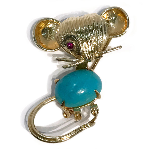 Vintage 18k Yellow Gold Mouse Brooch/Pin with Turquoise Cabochon and Ruby Eye