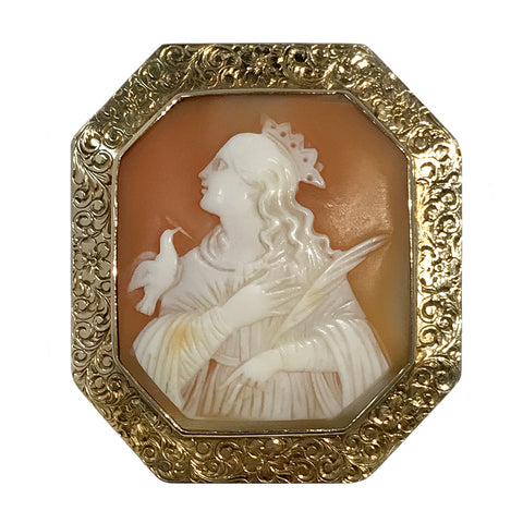 Antique 14k Yellow Gold Carved Shell Octagon Bezel Cameo Brooch Pendant