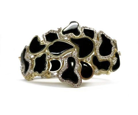 One-of-a-Kind 14k Yellow Gold Free Form Onyx and Diamond Bracelet