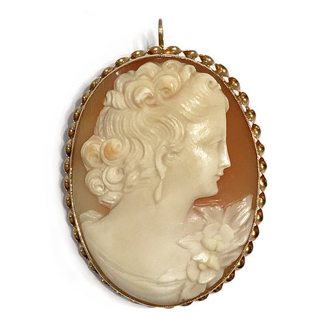 Vintage 14k Yellow Gold Shell Cameo Brooch Pendant