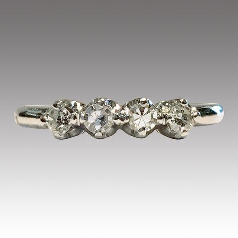 Vintage Platinum Four Diamond Engagement Ring, 0.20ctw, Size 6