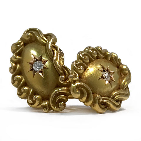 Victorian 14k Gold Oval Cufflinks, Star Set Diamond Center 0.06ctw