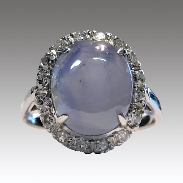 Vintage 14k White Gold Star Sapphire with Diamond Halo, .32ctw, size 6.75