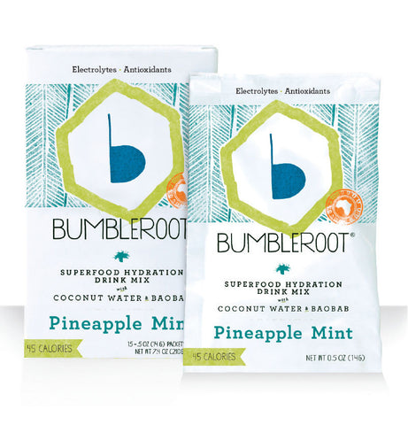 Bumbleroot Superfood Hydration Drink Mixes - Pineapple Mint (15 packets)