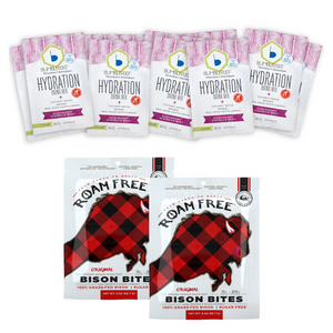 Roam Free Bison Bites (2 - Original) & Bumbleroot Hydration Mix (10 - Raspberry Hibiscus Mint