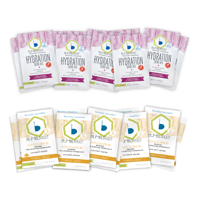 Mixed Pack (10 Pack): 5 Raspberry Hibiscus Mint Hydration Drink Mix + 5 Turmeric Ginger Hydration Drink Mix