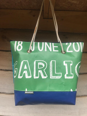 Wyatt and Jack X The Garlic Farm salvaged banner bags i love wight market