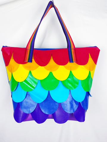 Wyatt and jack rainbow mermaid weekender tote bag from bouncy castles