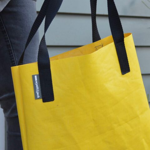 wyatt and jack yellow up cycled bouncy castle tote vegan tote accessories