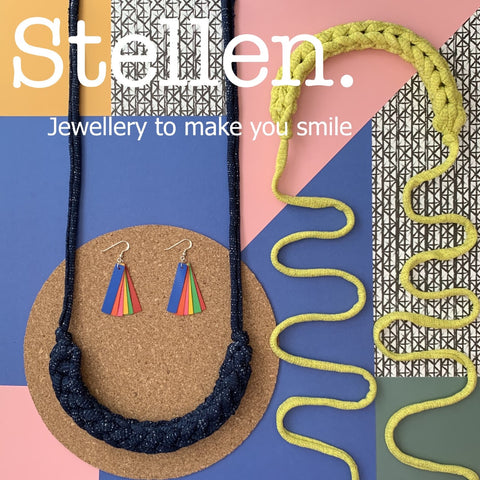 stellen earrings and necklaces from bouncy castles and waste products