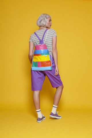 lucy & yak X wyatt & jack collaboration rainbow festival  sustainable ethical backpack