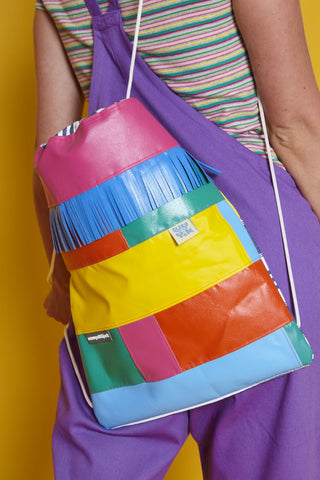 lucy & yak X wyatt and jack collaborative rainbow bouncy castle backpack