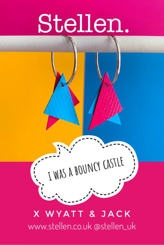 Wyatt and jack stellen collaboration earrings from bouncy castles
